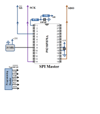6 Digit Common Anode 7 Segment Display - SPI Master Schematic PIC16F876A
