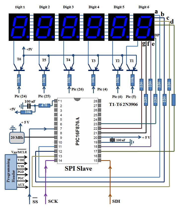 6 Digits Common Anode 7 Segment Display Spi Slave Schematic