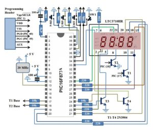 PIC16F877A Digital Clock Schematics