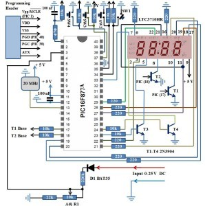 Simple Digital Voltmeter - PIC16F877A Schematic