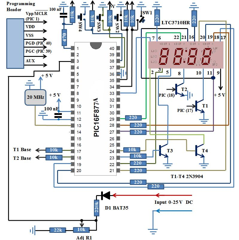 Simple Digital Voltmeter Pic16f877a Schematic Wire Data Schema