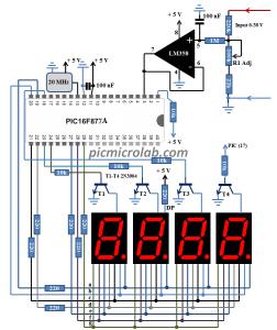 10 Bit 7-Segment Digital Voltmeter Schematic