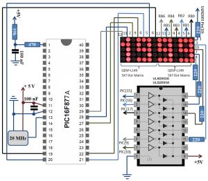 3.5 Digit 5x7 Dot Matrix Display Schematic