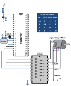 Unipolar Stepper Motor Interface PIC16F877 Schematic