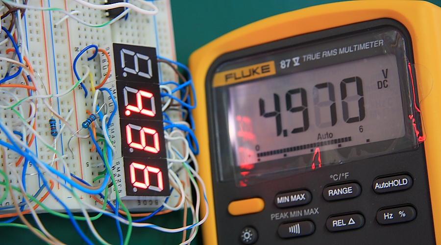 10 Bit 7-Segment Digital Voltmeter Test Fluke 87