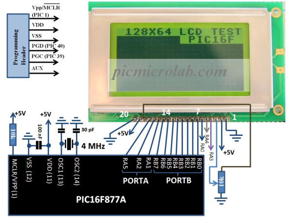 128x64 LCD Display Schematic