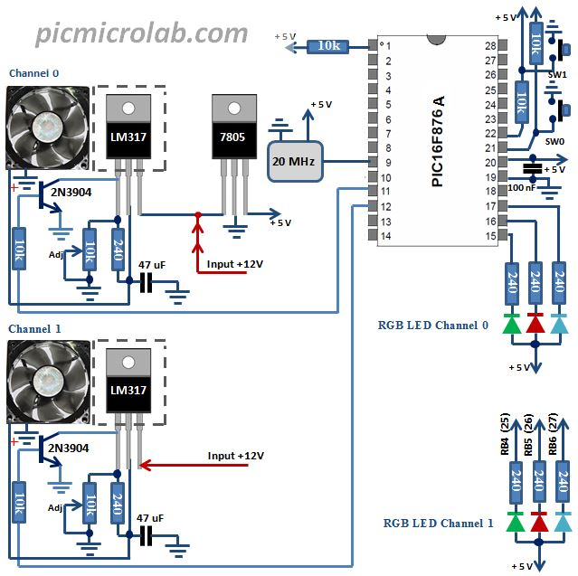 2 Channel PC Fan Controller Schematic