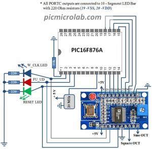 AD9850 Interface Schematic
