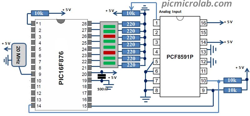 PCF8591 I2C 8-bit ADC and DAC Schematic