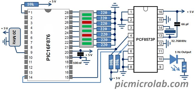 RTC Real Time Clock PCF8573P Schematic