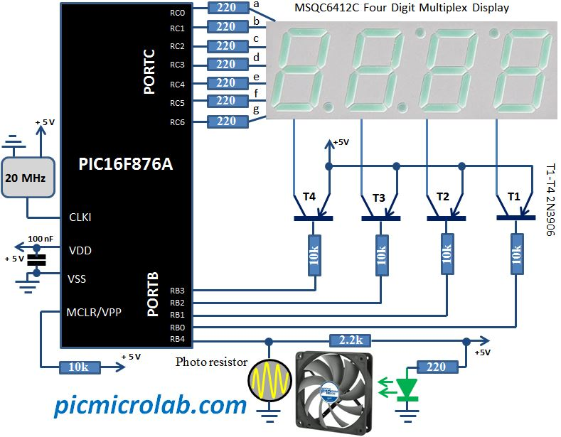 PIC Fan Speed Monitor Schematic