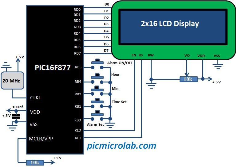 LCD Alarm Clock Schematic