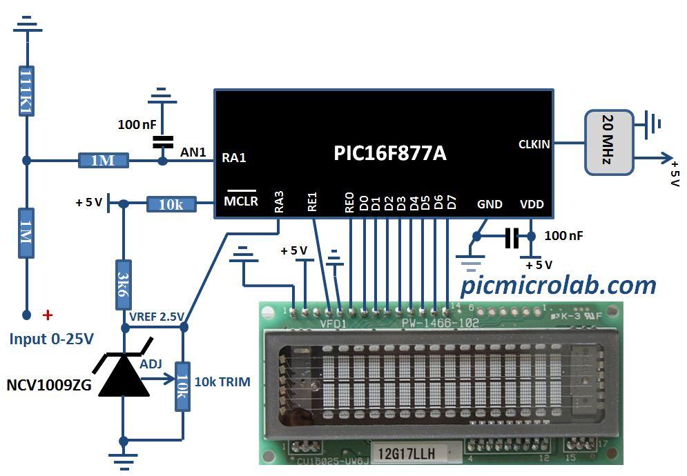 Digital Voltmeter VFD Display Schematic
