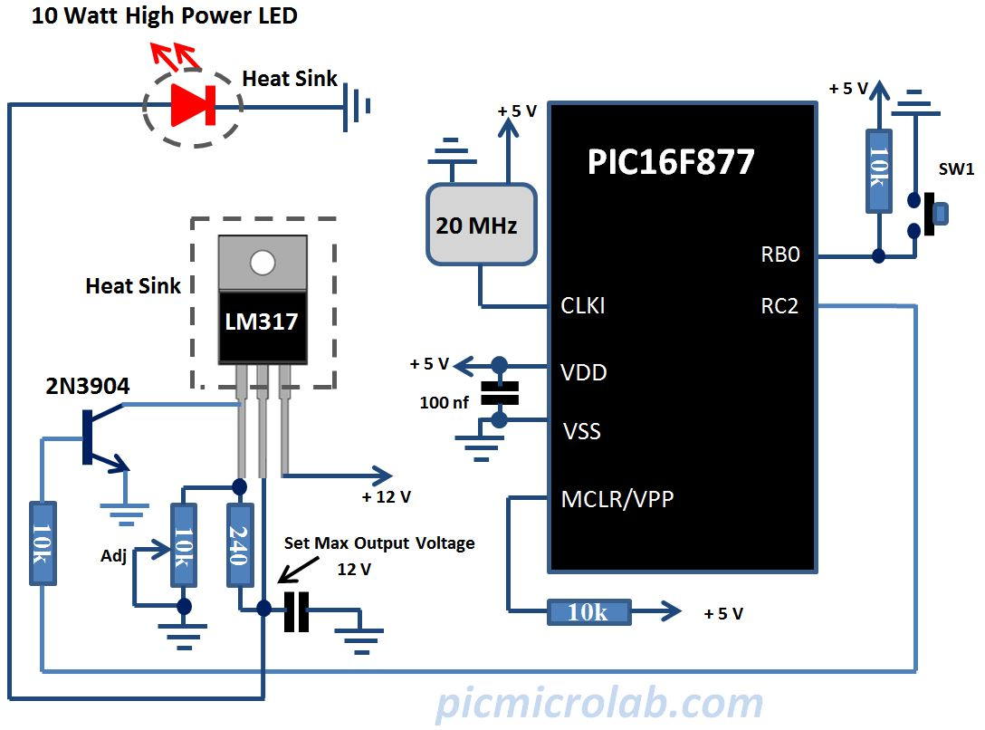 High Power LED Controller Schematic