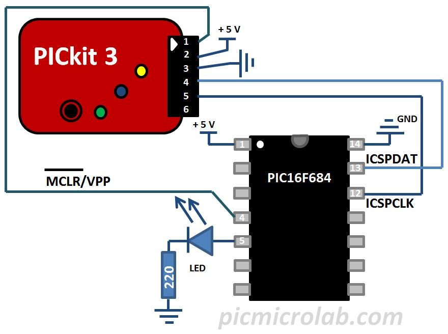 Blinking LED PIC16F684 Schematic