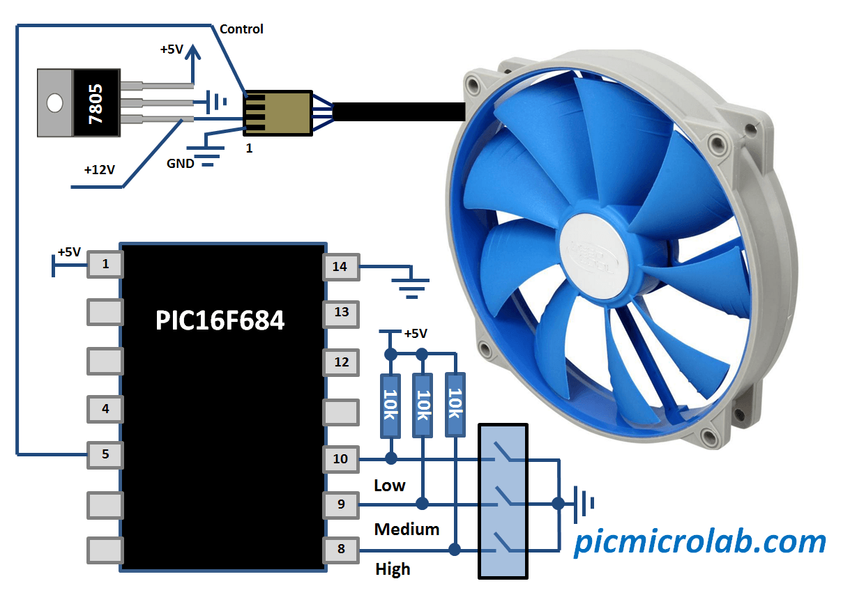Controlling PWM Fan with PIC16F684 Schematic
