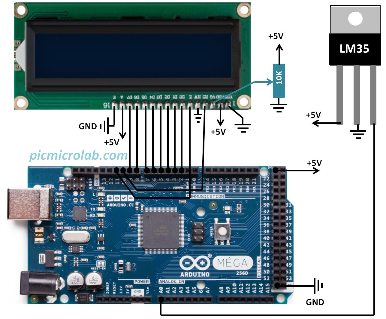 Arduino Thermometer LM35 Schematic