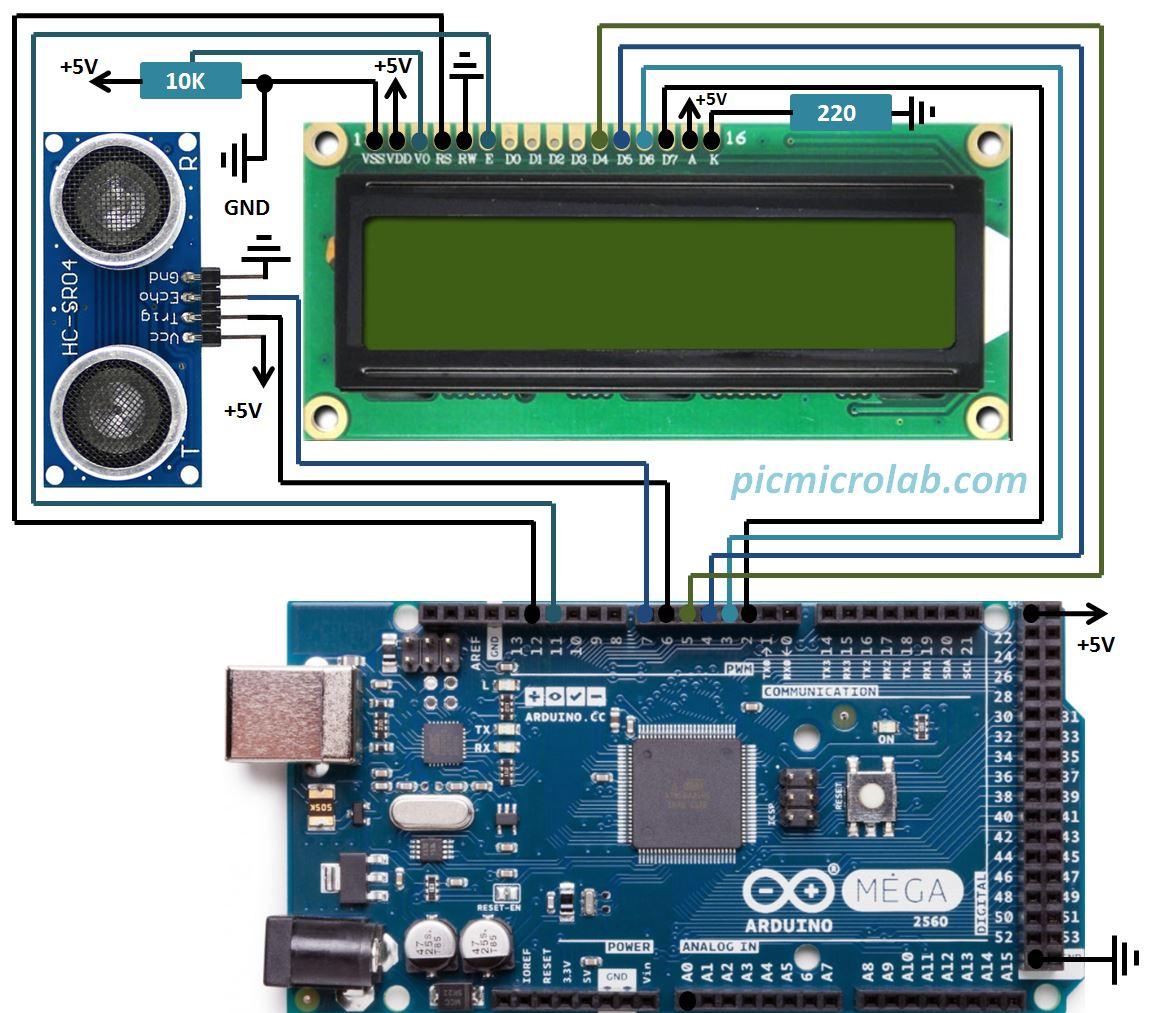 Arduino Ultrasonic Sensor HC-SR04 Schematic