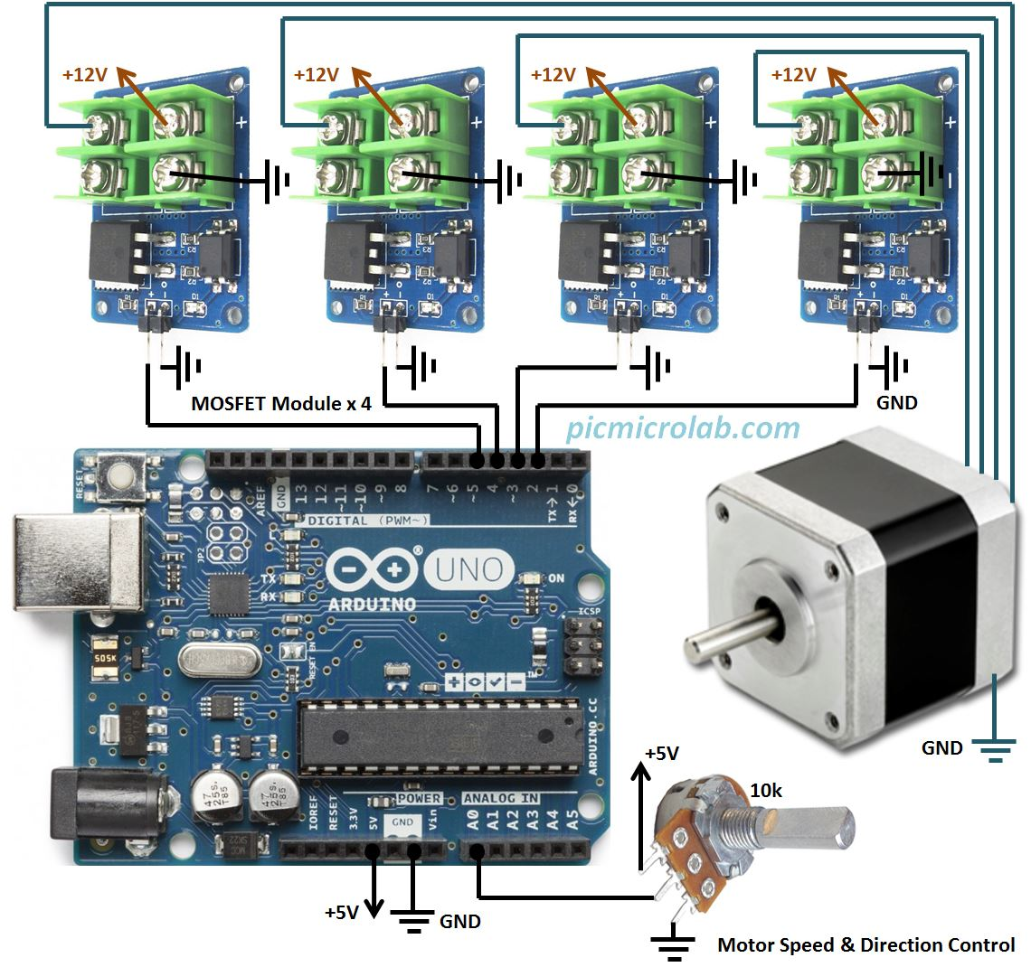 Stepper motor controller with arduino schematic for Stepper motor position control