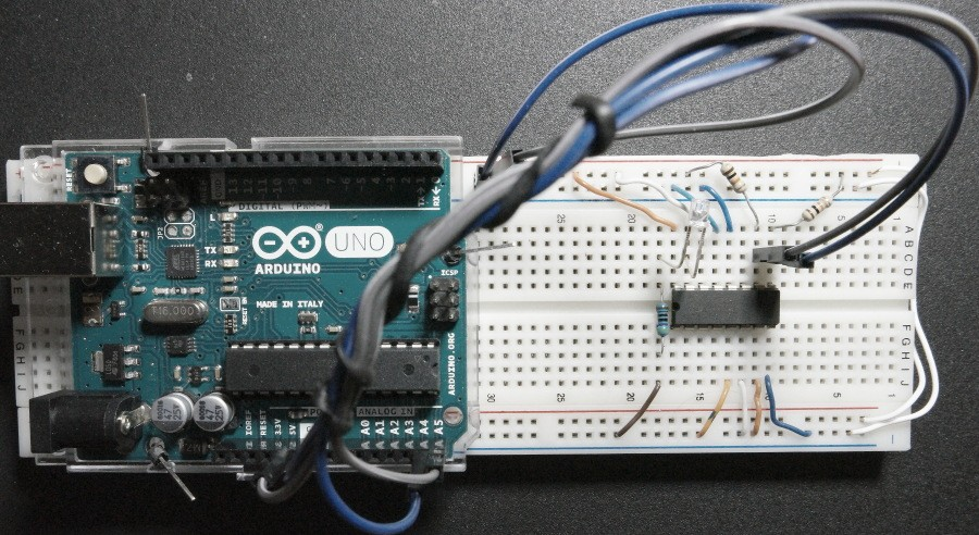 Fading-LED-with-PCF8591-Arduino-I2C-Prototype-Board