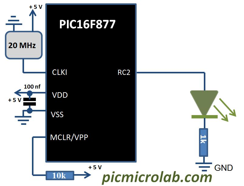 Fading LED with PIC microcontroller