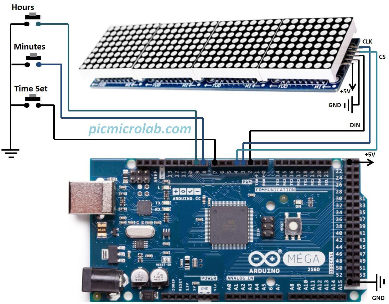 4 Digit Led Dot Matrix Clock Arduino Circuit Schematic